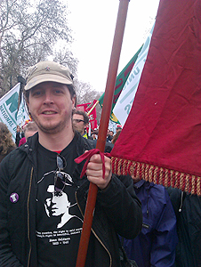 Carrying the NUJ banner on 26 March